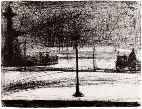 "1883 Сёра Ж.П.""Площадь Согласия в темноте в снегу."""