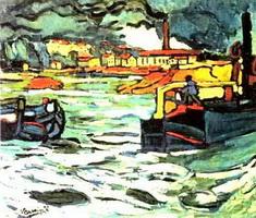 Баржи на Сене (М. де Вламиник, 1906 г.)