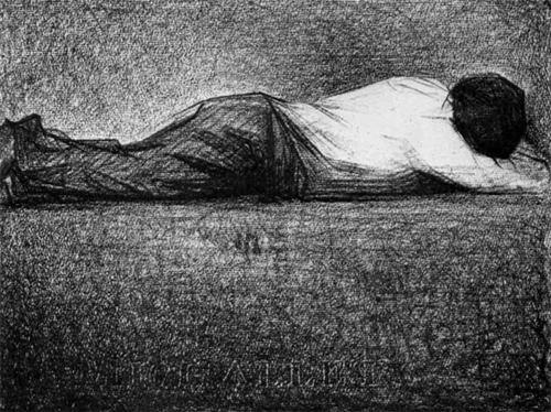 "1881 Сёра Ж.П.""Лежащий мужчина."""