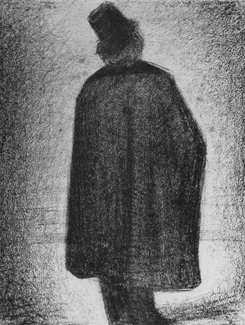 """1882 Сёра Ж.П.""""Мужчина в накидке и цилиндре."""""""