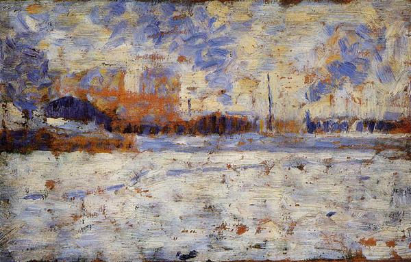 """1883 Сёра Ж.П.""""Снег: зима в пригороде."""""""