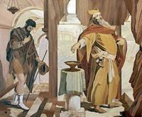 Фарисей и мытарь (В. Полушкин, маркетри)