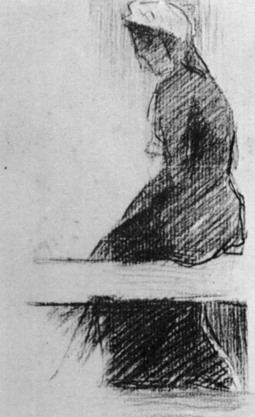 """1881 Сёра Ж.П.""""Сидящая на скамейке женщина."""""""