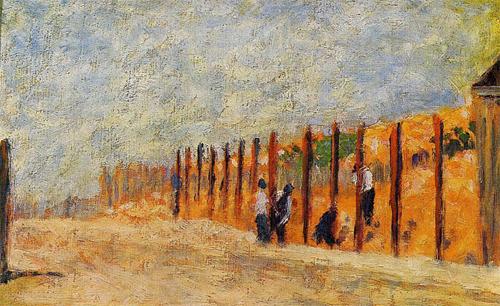 """1882 Сёра Ж.П.""""Крестьяне, забивающие столбы."""""""
