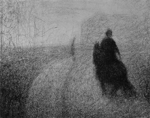 """1883 Сёра Ж.П.""""Всадник на улице."""""""