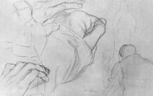 """1880 Сёра Ж.П.""""Лист с этюдами солдат, фигур и кисти руки."""""""