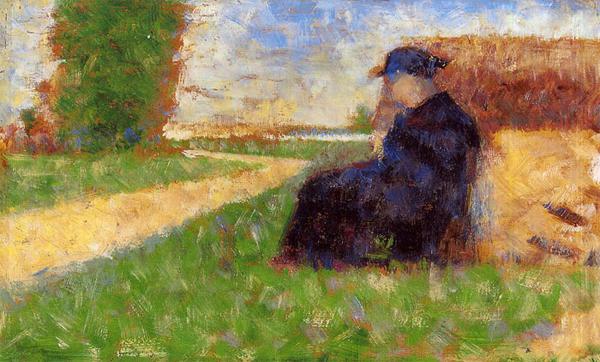 """1883 Сёра Ж.П.""""Крупная фигура человека на фоне пейзажа."""""""