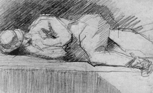 """1881 Сёра Ж.П.""""Лежащий на парапете."""""""
