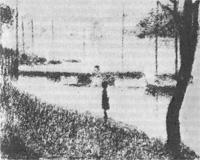 Мост курбвуа - рисунок для картины (Жорж Сёра)
