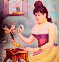 Пудрящаяся женщина (Портрет Мадлен Кноблох) (Ж. Сера)