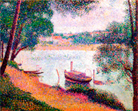Речной пейзаж с лодкой (Жорж Сёра)