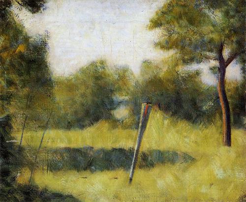 "1882 Сёра Ж.П.""Пейзаж со столбом."""