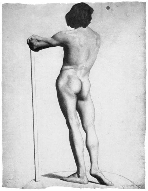 """1877 Сёра Ж.П.""""Обнаженный со спины, опирающийся на палку."""""""