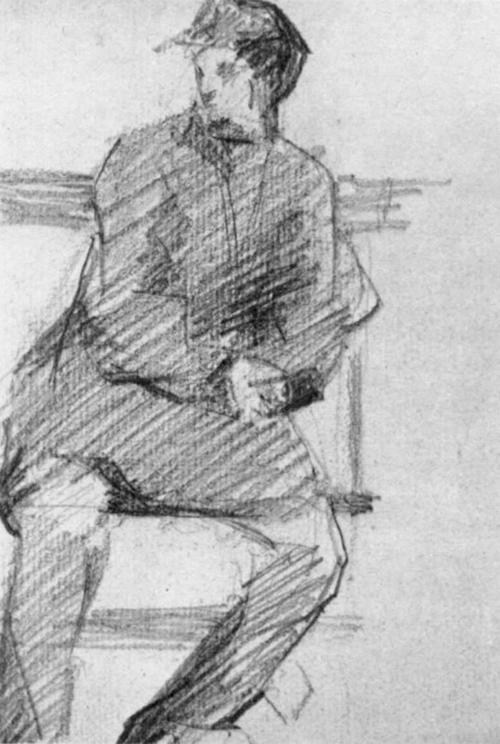 """1881 Сёра Ж.П.""""Молодой человек на скамейке."""""""