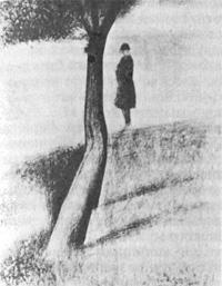 Дерево и мужчина у воды (Жорж Сёра)
