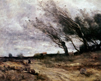 Пейзаж с ветренной погодой (К. Коро, 1865 г.)