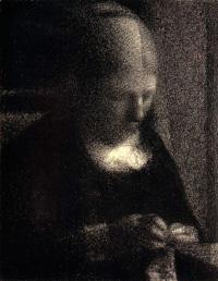 За шитьем (Портрет матери) (Ж. Сёра 1883 г.)