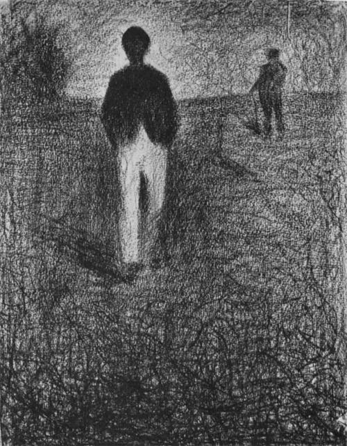 """1882 Сёра Ж.П.""""Два мужчины на поле."""""""