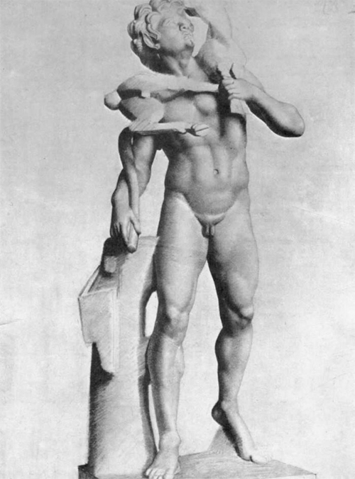 """1877 Сёра Ж.П.""""Античная статуя: Сатир с козой"""""""