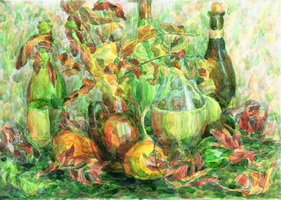 Натюрморт с бутылками (А. Хорошилова, акварель)