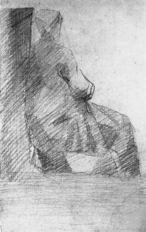 """1881 Сёра Ж.П. """"Сидящая женщина, фигура со спины."""""""