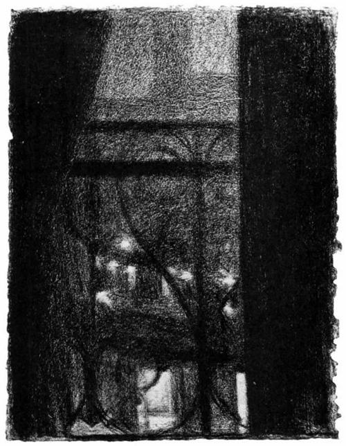 """1883 Сёра Ж.П.""""Вид через решетку балкона."""""""