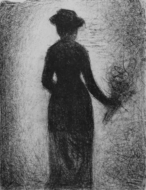 """1882 Сёра Ж.П.""""Дама с букетом цветов, вид со спины."""""""